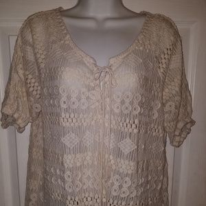FRENCH LAUNDRY Crocheted Lace Short Blouse